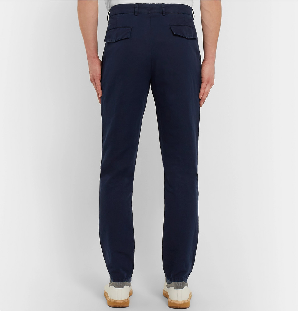 Penn Badgley style Navy Slim-Fit Pleated Linen And Cotton-Blend Chinos