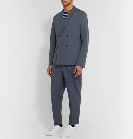 Mr P Summer Collection Dark-Blue Unstructured Double-Breasted Linen And Cotton-Blend Suit Jacket