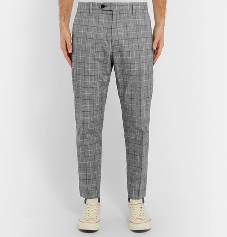 Mr P Summer Collection Slim-Fit Checked Cotton-Blend Cropped Trousers