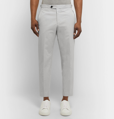 Mr P Summer Collection Slim-Fit Cotton-Twill Cropped Trousers