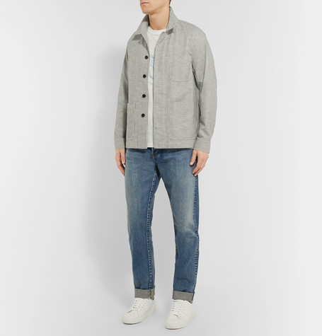 Mr P Summer Collection Striped Slub Cotton-Blend Chore Jacket